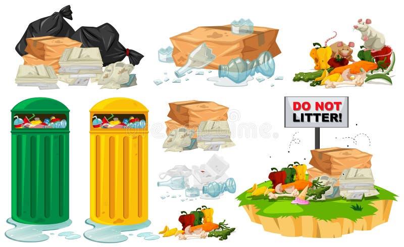 Déchets sur le plancher et les poubelles illustration de vecteur