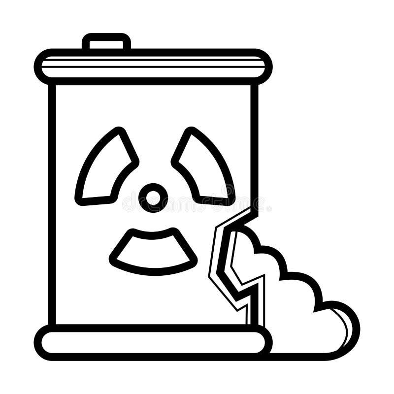 Déchets toxiques débordant l'icône de baril illustration stock