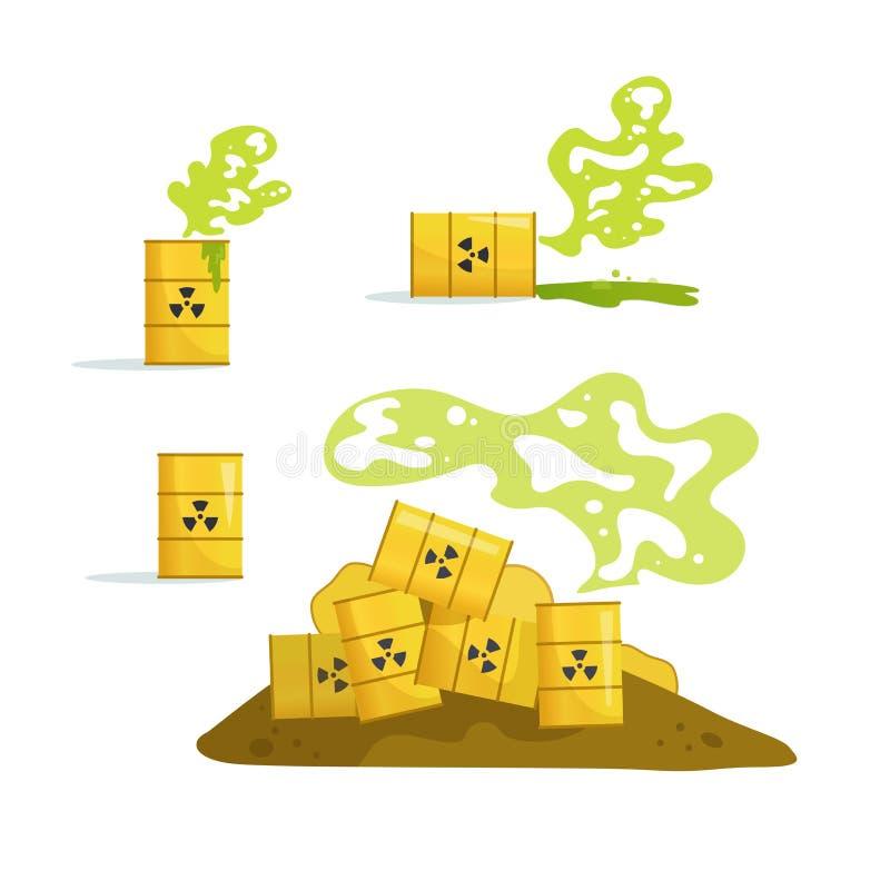 Déchets toxiques et radioactifs Vecteur de baril cartoon Décharge d'isolement, stockage illustration de vecteur