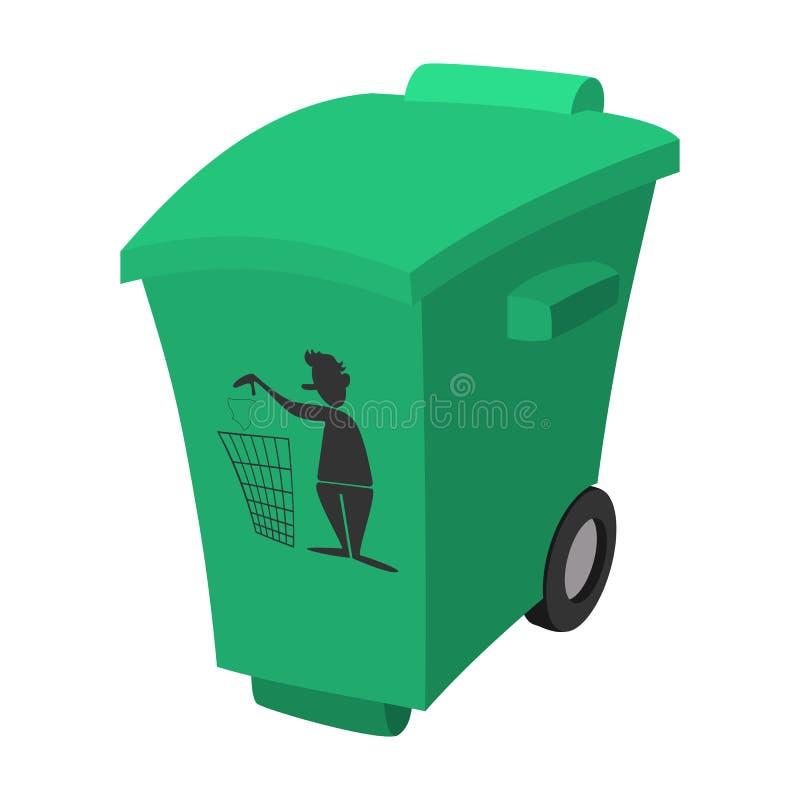 Déchets verts, icône de bande dessinée de poubelle illustration de vecteur