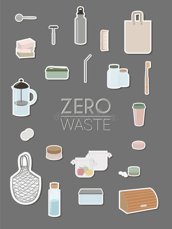 Déchets zéro, minimalisme, vert d'eco - infographics illustration de vecteur
