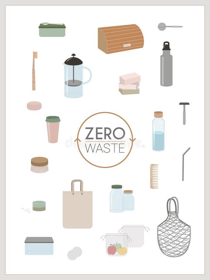 Déchets zéro, minimalisme, vert d'eco - infographics illustration stock