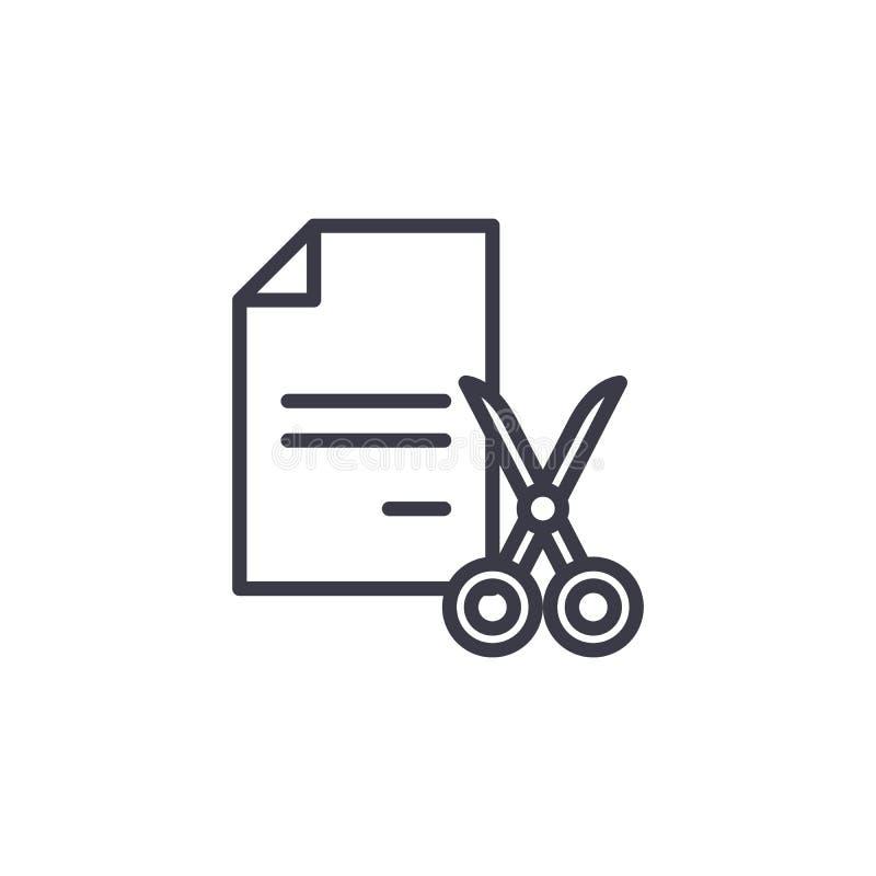Déchiquetage du concept linéaire d'icône de documents Déchiquetant documente la ligne signe de vecteur, symbole, illustration illustration stock