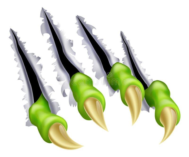 Déchirement de main de griffe de monstre illustration stock
