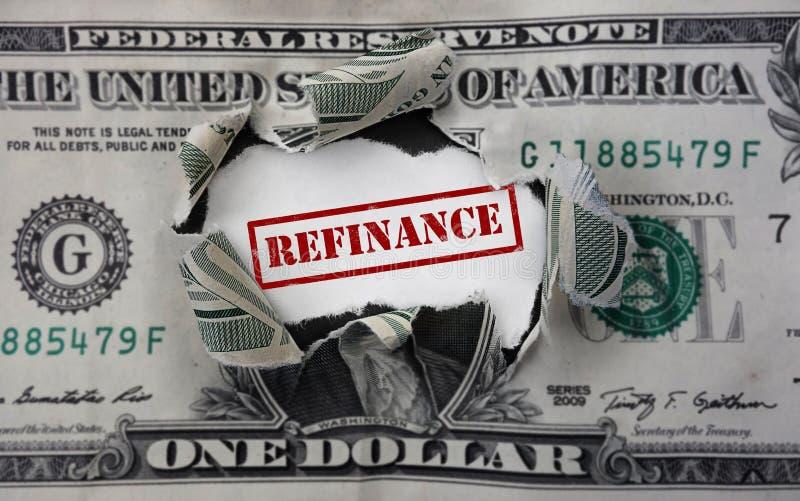Déchirure du dollar de refinancement photographie stock