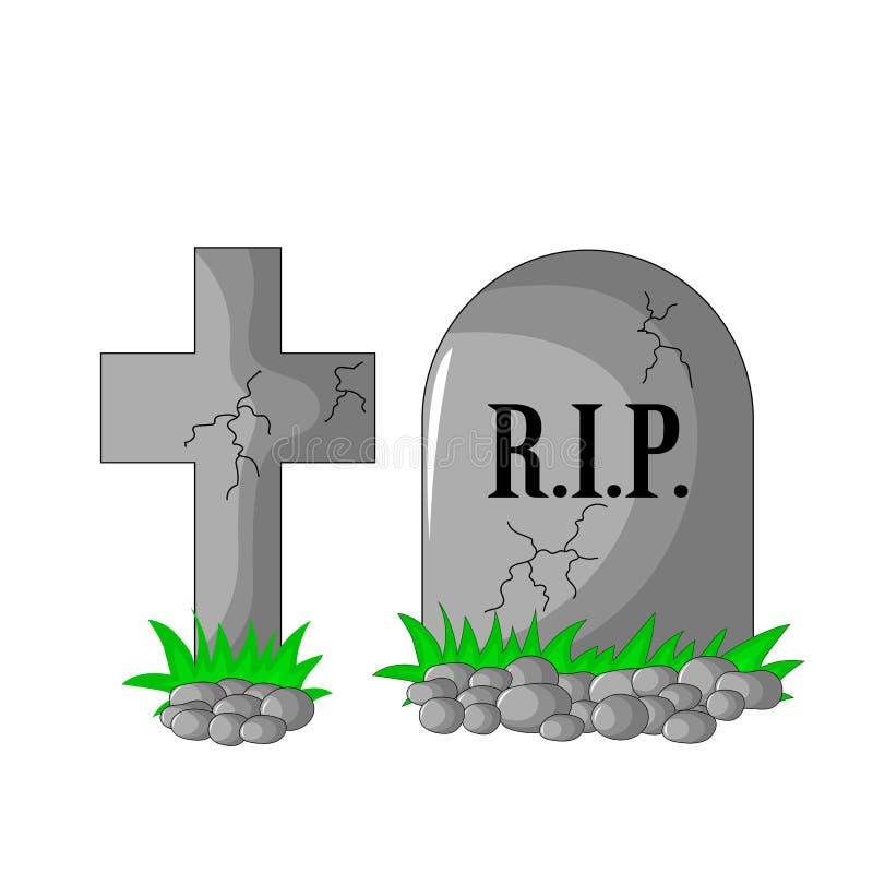 DÉCHIRURE et croix avec des pierres et herbe de pierre tombale d'isolement illustration libre de droits