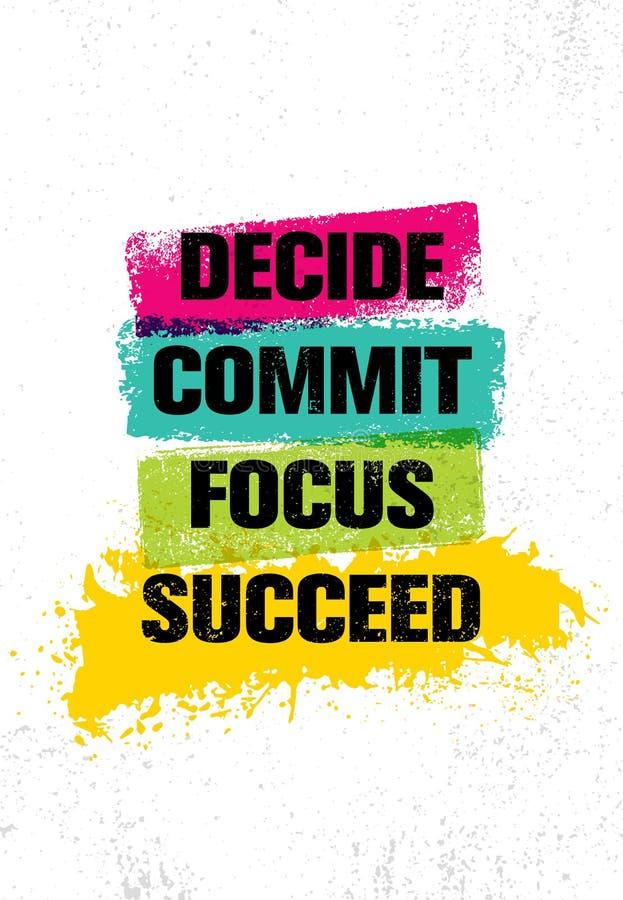 décidez commettez orientation réussissez Calibre créatif de inspiration d'affiche de citation de motivation Conception de bannièr illustration de vecteur
