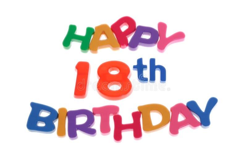 Décimo octavo cumpleaños feliz imágenes de archivo libres de regalías