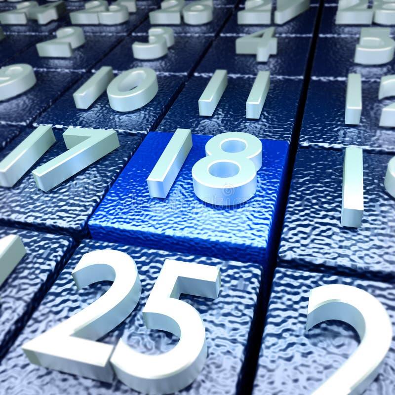 Décimo oitavo dia de calendário imagem de stock