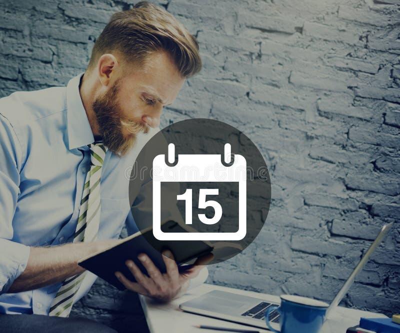 Décimo quinto conceito do plano do calendário da programação do memorando da nomeação imagem de stock