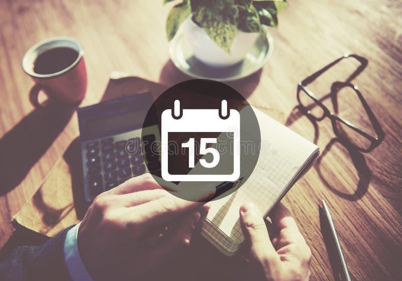Décimo quinto conceito do plano do calendário da programação do memorando de Appiontment imagens de stock