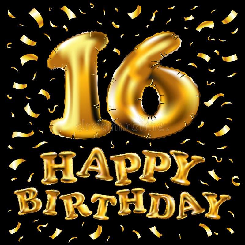 décimosexto celebración del cumpleaños con los globos y el confeti colorido, brillos del oro diseño para su tarjeta de felicitaci libre illustration