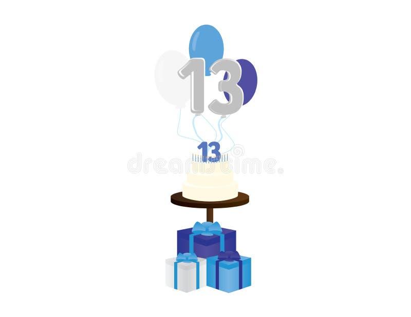 Décimotercero ejemplo del vector del cumpleaños del muchacho Elementos judíos del partido del bar mitzvah ilustración del vector