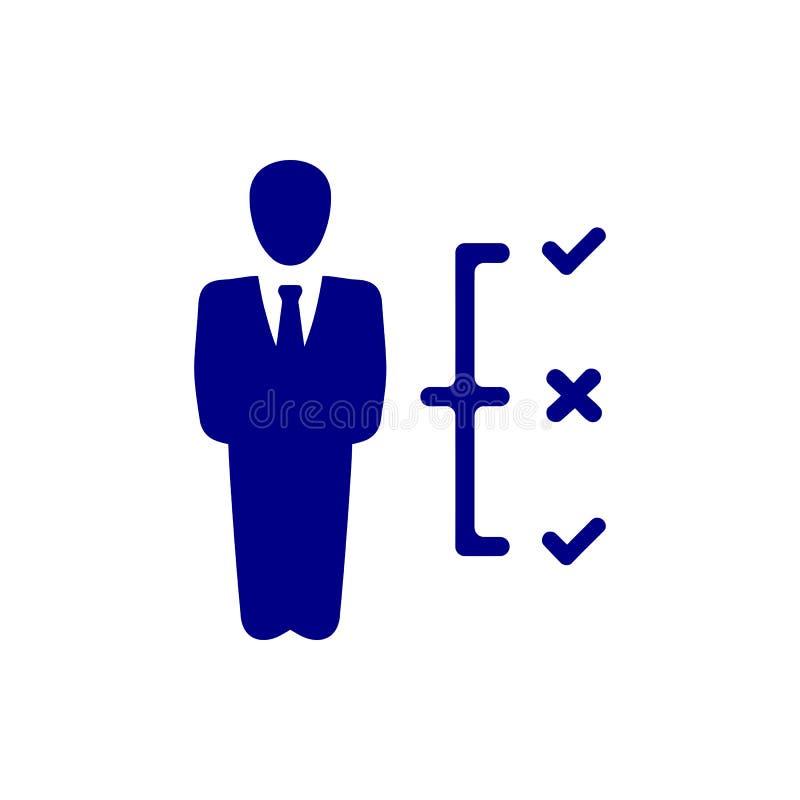 Décision économique, plan d'action, prise de décision, gestion, plan, planification, icône bleue de couleur de stratégie illustration stock
