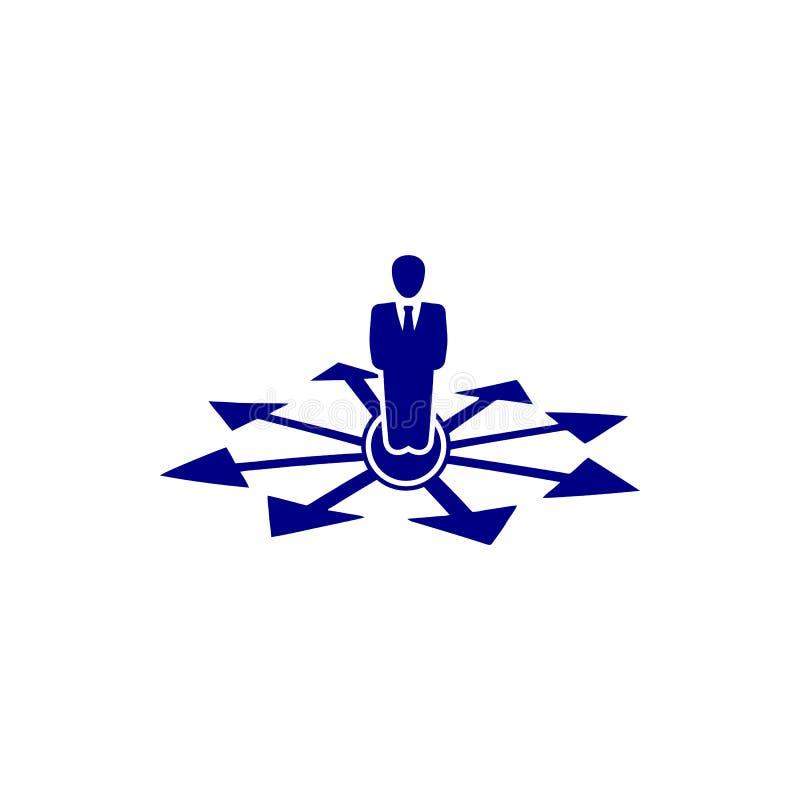 Décision économique, plan d'action, prise de décision, gestion, plan, planification, icône bleue de couleur de stratégie illustration de vecteur