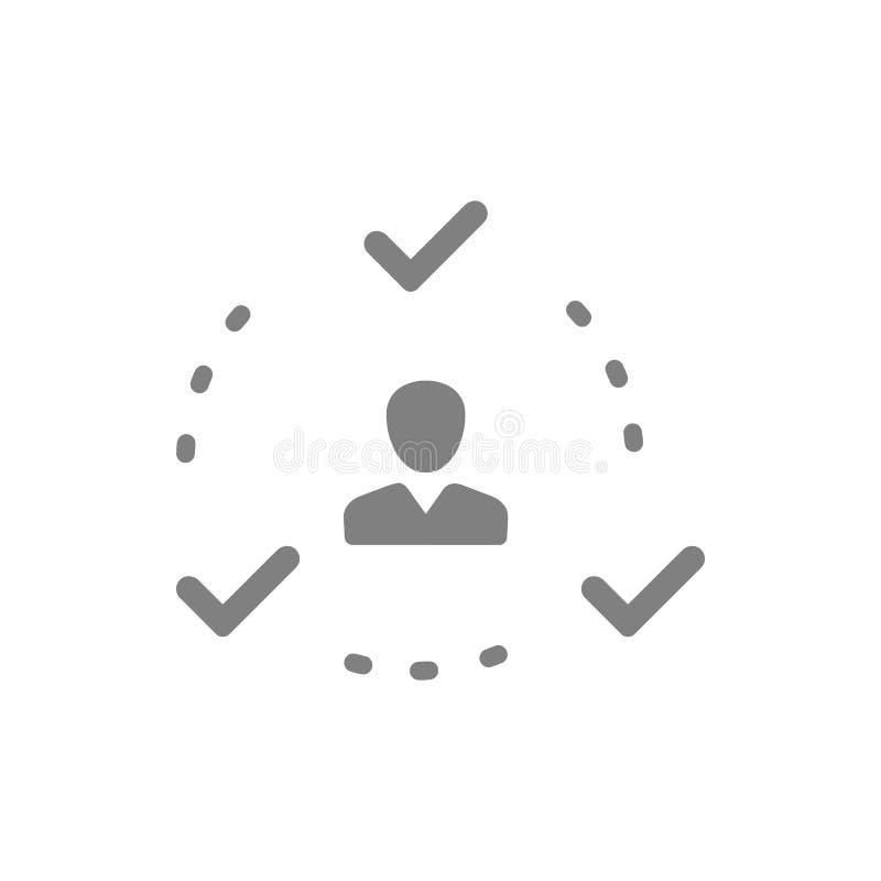 Décision économique, plan d'action, prise de décision, gestion, plan, planification, icône grise de couleur de stratégie illustration stock