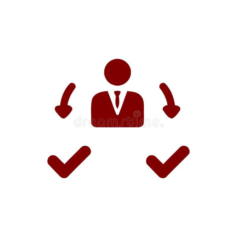 Décision économique, plan d'action, prise de décision, gestion, plan, planification, icône marron de couleur de stratégie illustration libre de droits