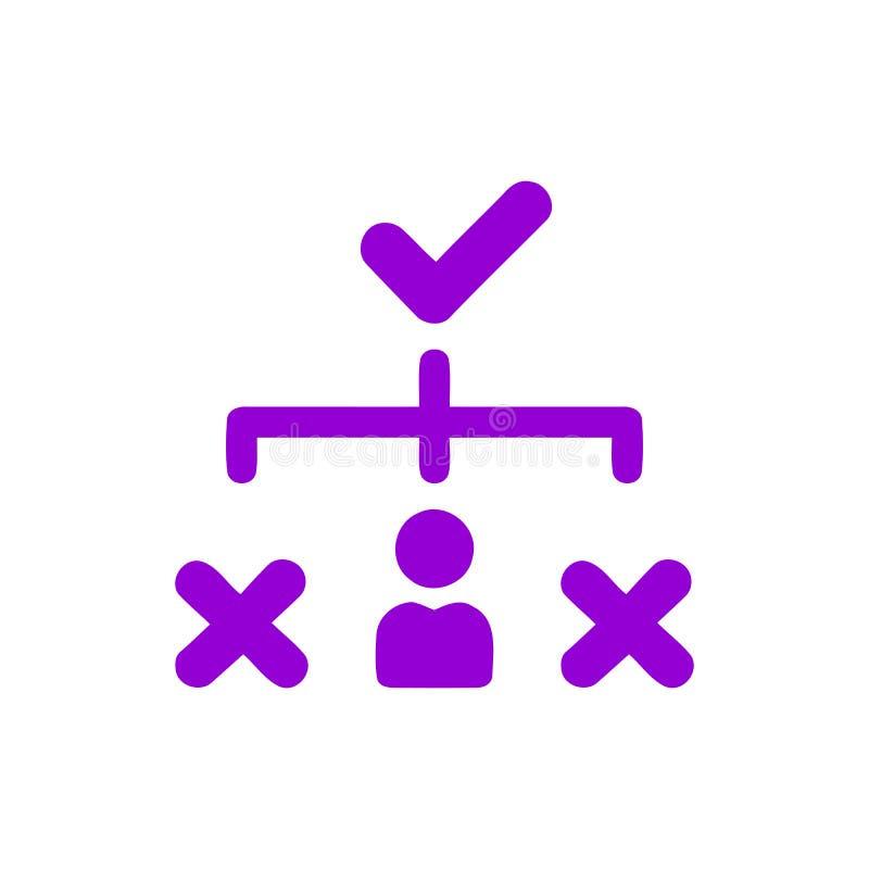 Décision économique, plan d'action, prise de décision, gestion, plan, planification, icône pourpre de couleur de stratégie illustration de vecteur