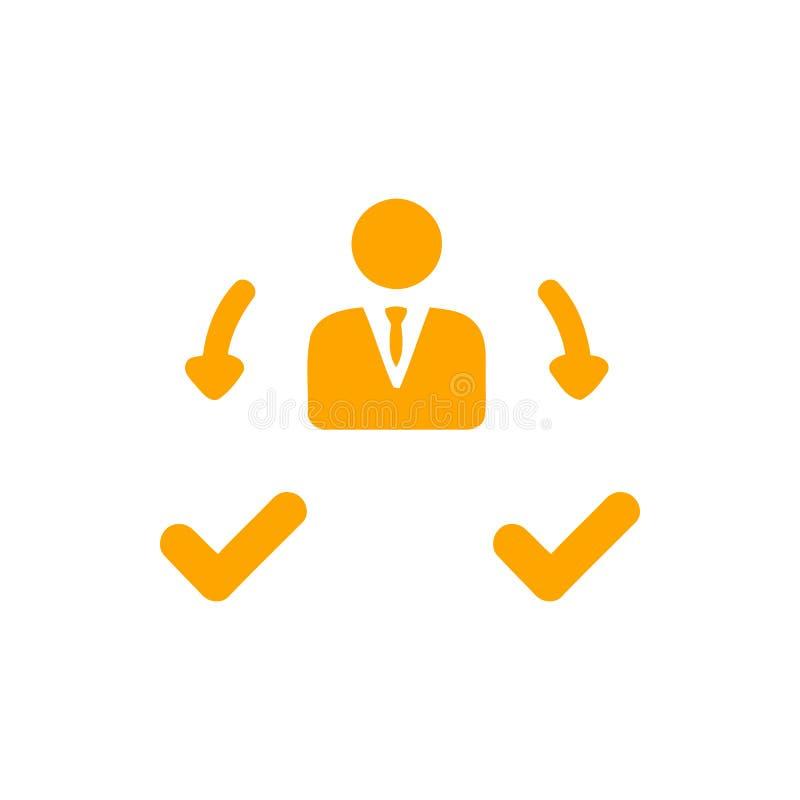 Décision économique, plan d'action, prise de décision, gestion, plan, planification, icône de stratégie illustration de vecteur