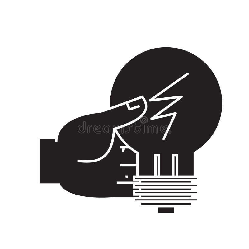 Décision d'idée, main avec l'icône de concept de vecteur de noir de lampe Décision d'idée, main avec l'illustration plate de lamp illustration de vecteur