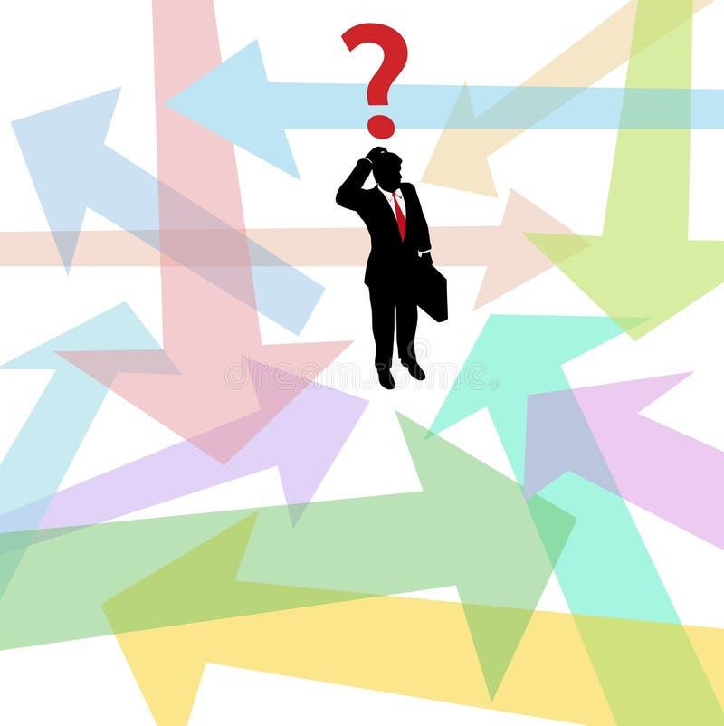 Décision perdue de flèches de question d'homme d'affaires illustration stock