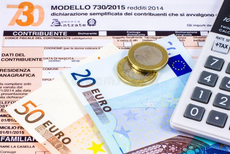 Déclaration d'impôt italienne appelée 730 photographie stock