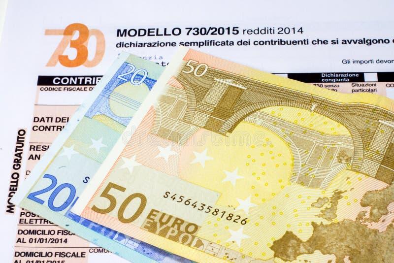 Déclaration d'impôt italienne appelée 730 images libres de droits