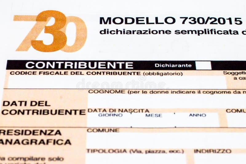 Déclaration d'impôt italienne appelée 730 image stock
