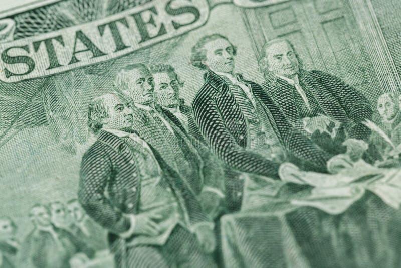Déclaration d'indépendance de signature de nous macr de billet de deux dollars photographie stock