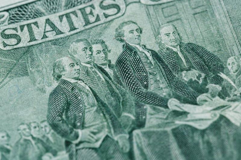 Déclaration d'indépendance de signature de nous macr de billet de deux dollars images libres de droits