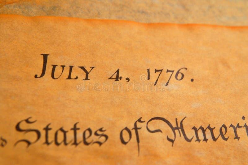 Déclaration d'indépendance des Etats-Unis photographie stock