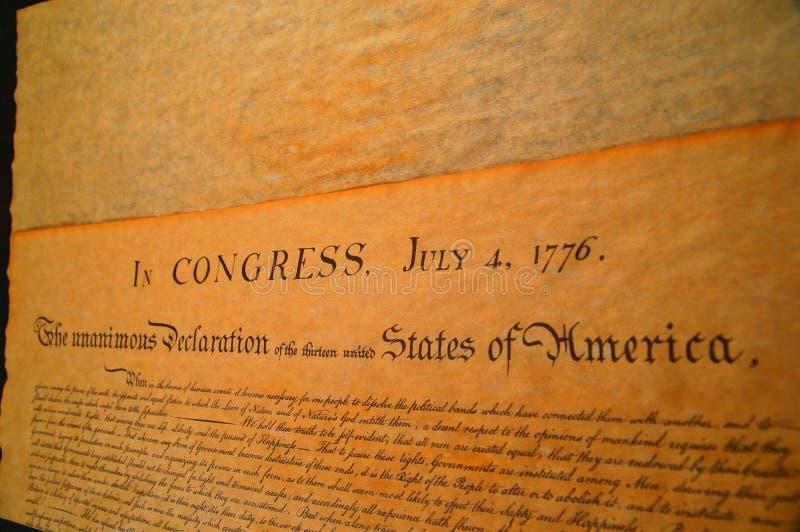 Déclaration d'indépendance des Etats-Unis photo stock