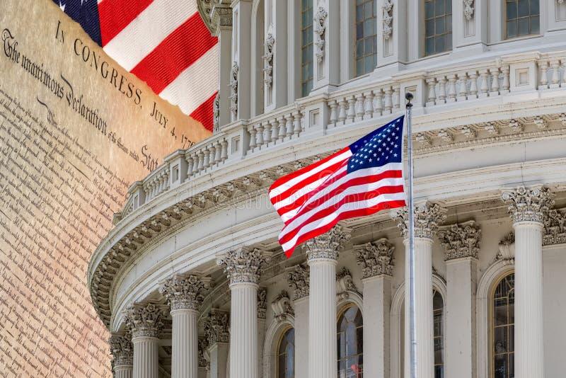 Déclaration d'indépendance le 4 juillet 1776 sur le capitol de Washington DC images stock