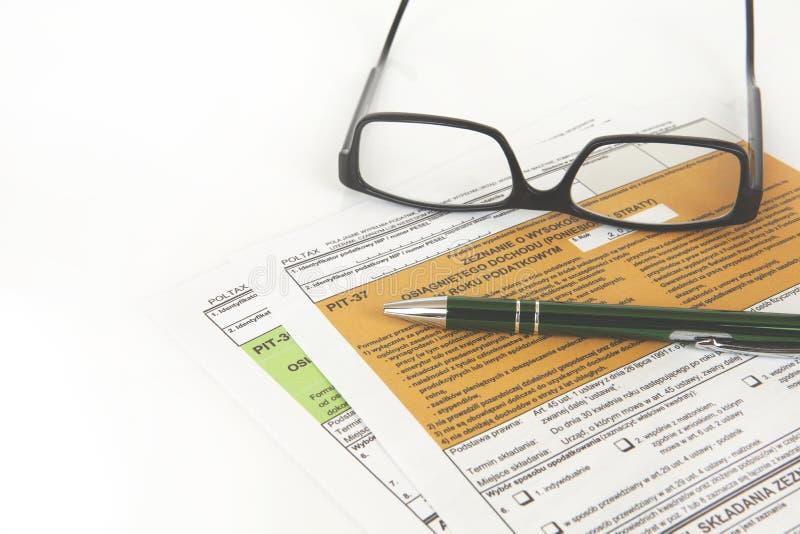 Déclaration de MINE - document polonais d'impôts photos stock