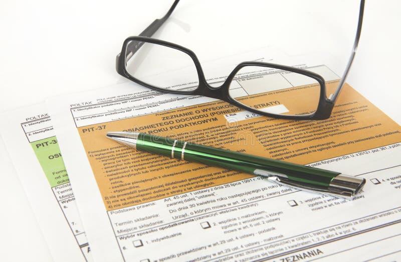 Déclaration de MINE - document polonais d'impôts images stock
