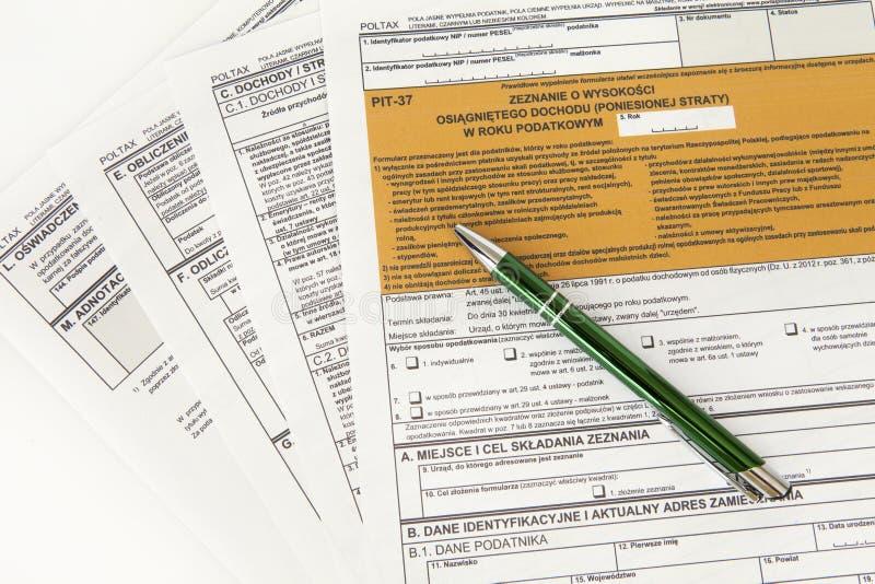 Déclaration de MINE - document polonais d'impôts photographie stock libre de droits