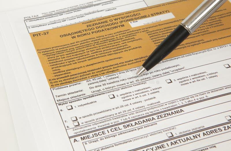 Déclaration de MINE - document polonais d'impôts photo libre de droits