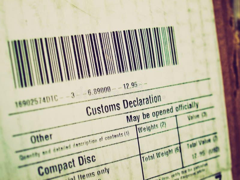 Déclaration en douane de rétro sembler photographie stock