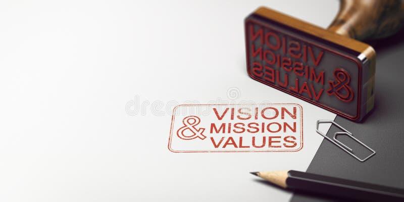 Déclaration, vision, mission et valeurs de société illustration de vecteur