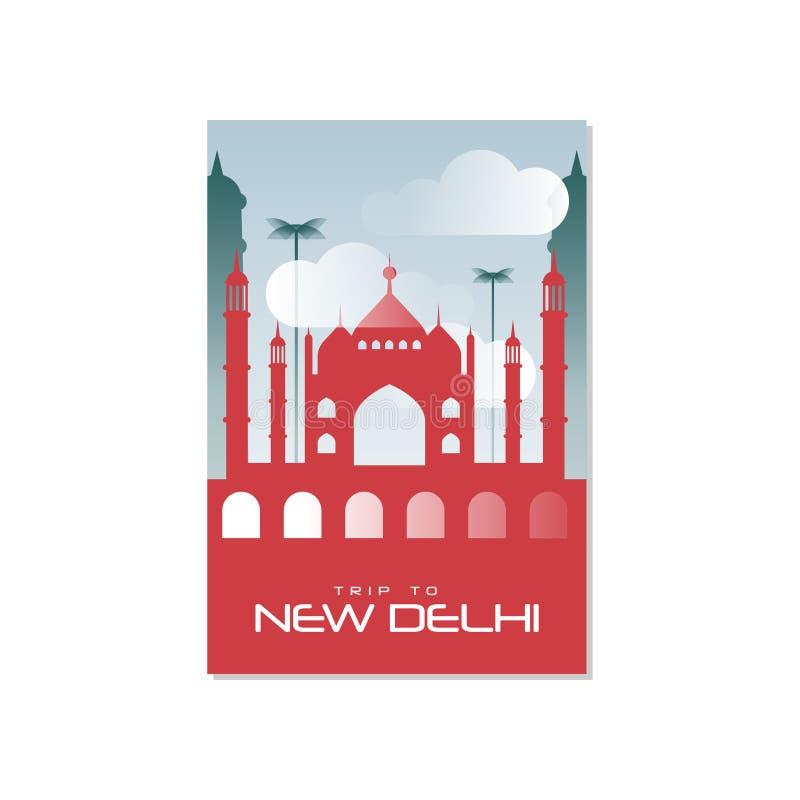 Déclenchez-vous à New Delhi, calibre d'affiche de voyage, la carte de voeux touristique, illustration de vecteur pour la magazine illustration libre de droits