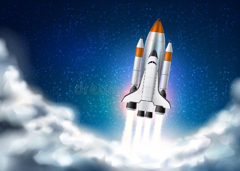 Décollage 3d réaliste de navette de vaisseau spatial de vecteur illustration de vecteur