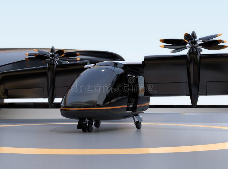 Décollage de attente d'avions de transport de passagers d'E-VTOL d'aéroport illustration stock