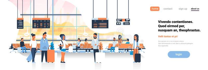 Décollage de attente de femme d'homme dans l'espace plat intérieur de copie de bannière de contrôle de terminal pour passagers de illustration de vecteur