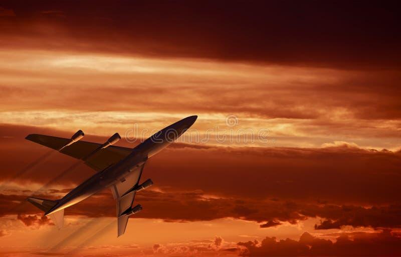 Décollage de coucher du soleil d'avion illustration libre de droits