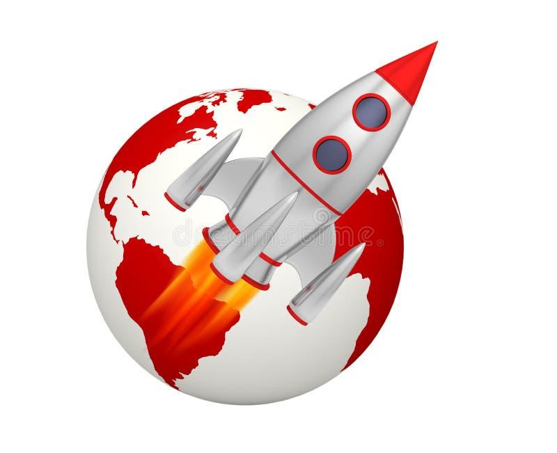 Décollage de fusée de la terre illustration libre de droits