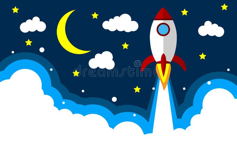 Décollage de Rocket dans le ciel nocturne illustration libre de droits
