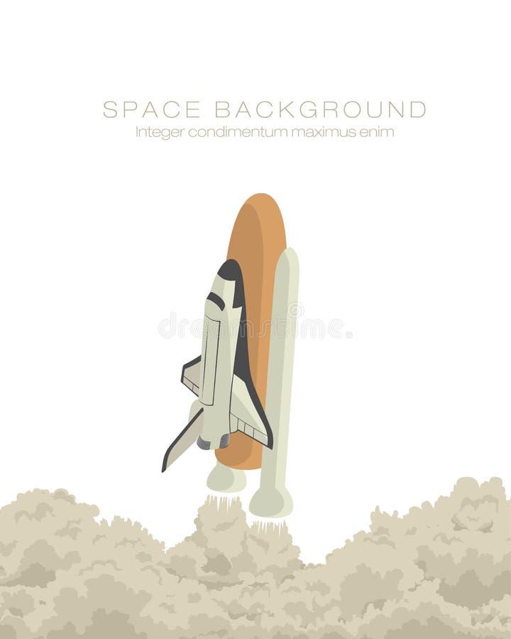 Décollage de vaisseau spatial d'isolement illustration stock