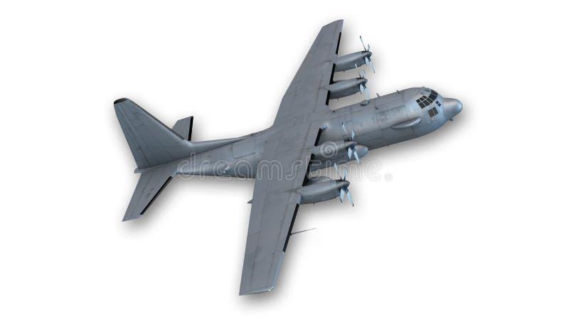 Décollage plat de bombardier, avion militaire sur le blanc image stock