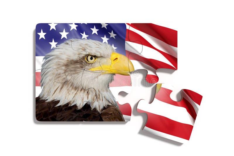 Déconcertez avec le drapeau américain avec Eagle sur le fond blanc illustration stock