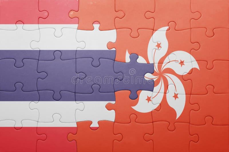 Déconcertez avec le drapeau national de Hong Kong et de la Thaïlande photographie stock